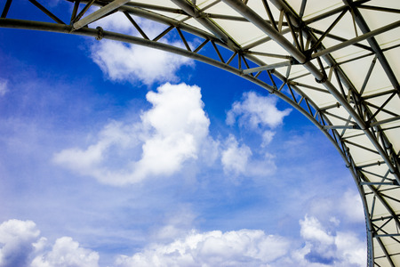 atrium: Atrium with blue sky Stock Photo