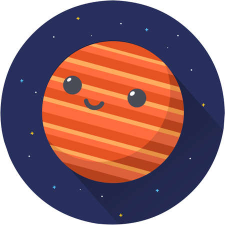 Venus Planet Vector Icon Illustration. Planet icon, flat vector graphic illustration on dark space background. Flat cartoon style suitable for web landing page, banner, sticker, background