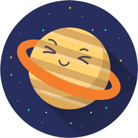 Saturn Planet Vector Icon Illustration. Planet icon, flat vector graphic illustration on dark space background. Flat cartoon style suitable for web landing page, banner, sticker, background