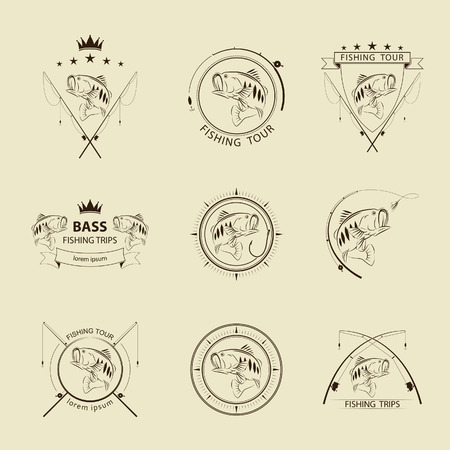 vector fishing symbol set Illustration