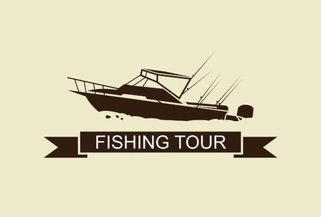 symbol sport: Abbildung Fischerboot Vektor