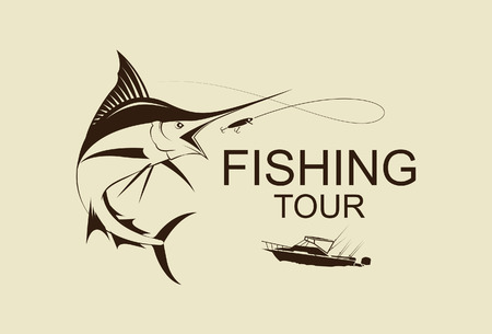 pez vela: ilustración símbolo pesca marlin vetor