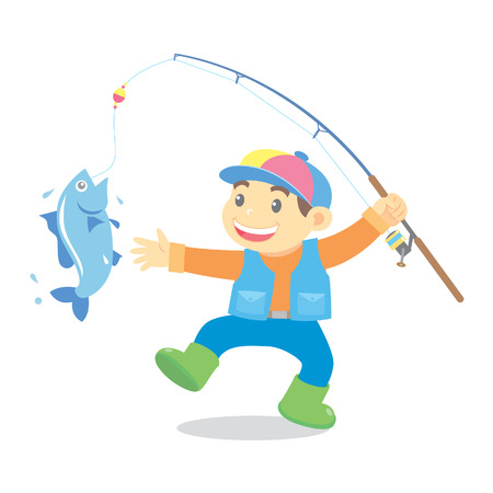 fisher: fishing cartoon Illustration
