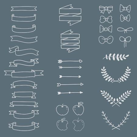 bite apple: Freehand icon set minimal style vector