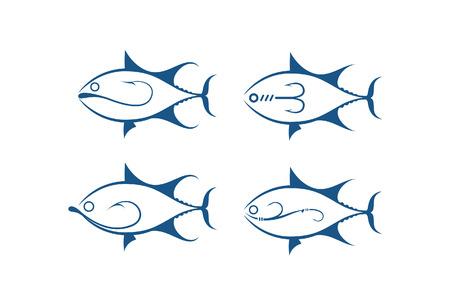 fish and hook, vector Иллюстрация