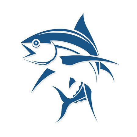 atún: Gráfico del estilo del tatuaje de la pesca, vector