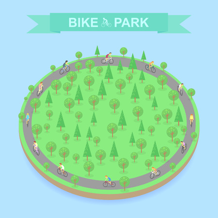 of view: Bike Park top view, vector Illustration