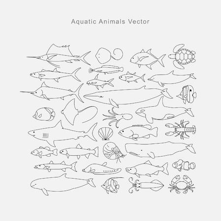 Disegno animali acquatici, vettore