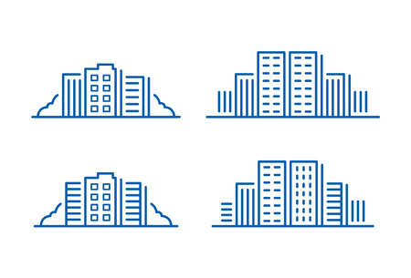 with sets of elements: Building icon, vector