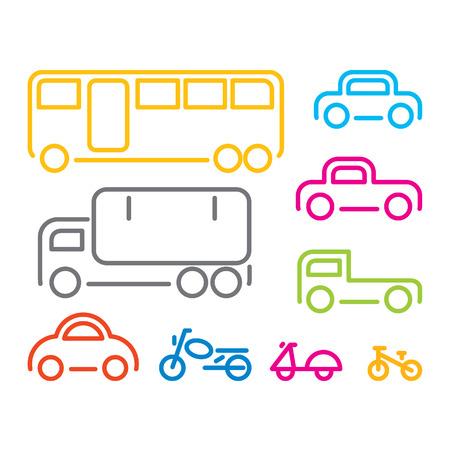 cartoon truck: Icono del veh�culo establecido, vector