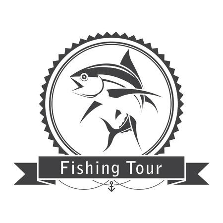symbol sport: Label Fischerei Thunfisch, Vektor- Illustration