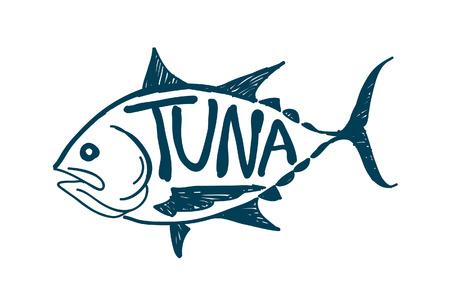 Draw tuna fish, vector