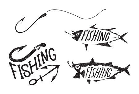 fish hook: fishing symbol, illustration fishing sketch design hook fish and fishing character Illustration
