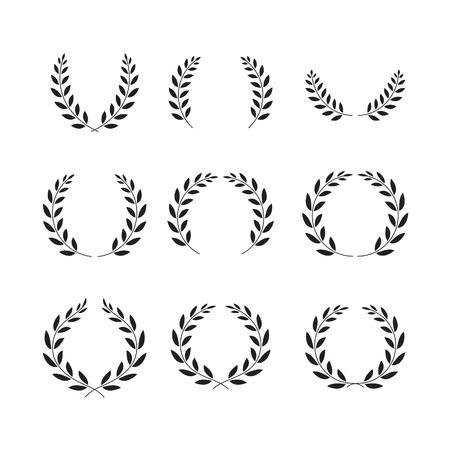 circle frames: laurel wreaths symbol set Illustration