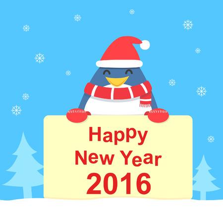 Penguin en nieuwjaarskaart Stock Illustratie