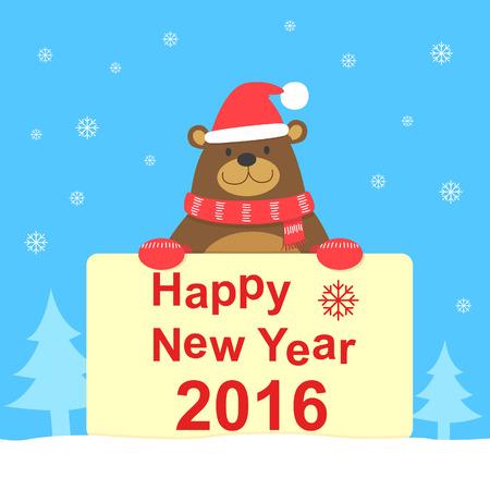 0 1 year: Bear and New Year card