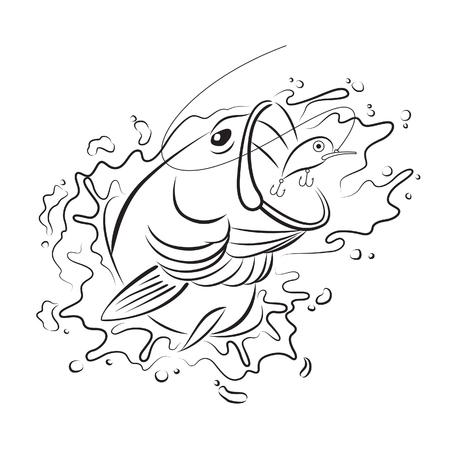 Drawing fishing Stock Illustratie