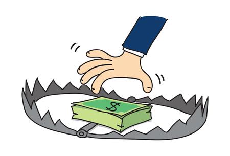 cartoon money trap, vector Illusztráció