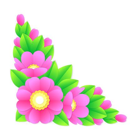 pink bushes: flower corner, vector