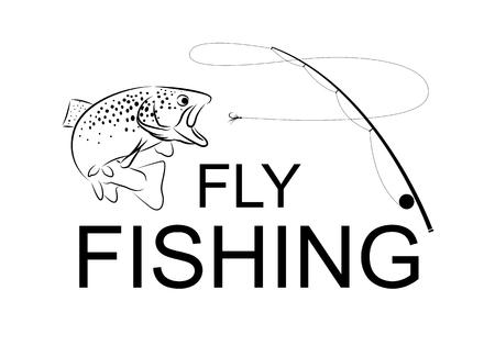 Pesca con mosca, vector Foto de archivo - 51404381