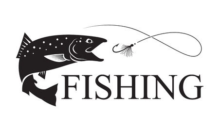 volar: pesca del salmón, vector Vectores