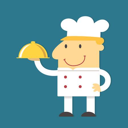 cartoon clothes: Cartoon Chef holding gold tray, vector