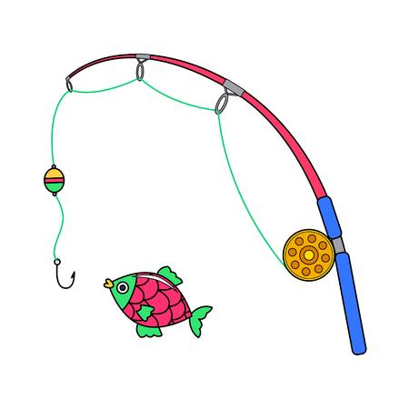 fish rod: cartoon fishing, vector