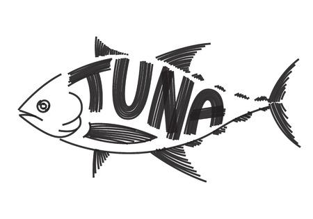brush painting: clip art tuna fish on white background