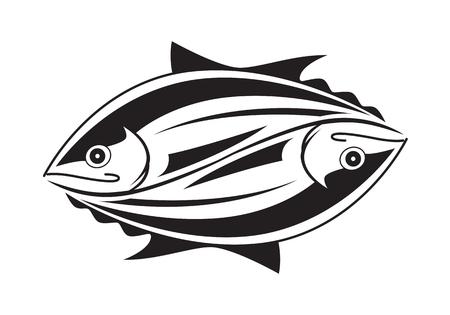 black fish: clip art black tuna fish on white background Illustration