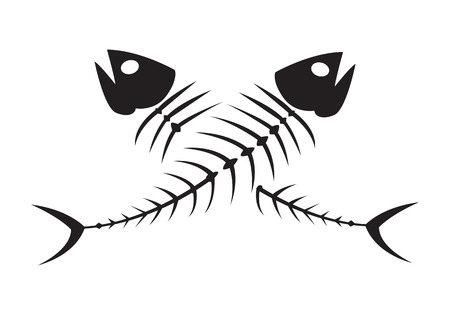 illustration of black fishbone: clip art black fishbone on white background Illustration