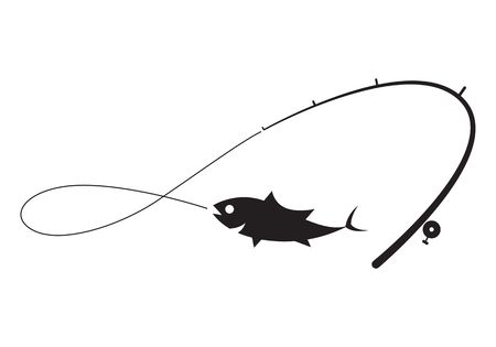 clip art black fishing on white background