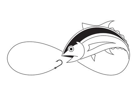 clip art du thon de pêche de tirage sur fond blanc Vecteurs