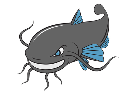 cartoon catfish, vector Illustration
