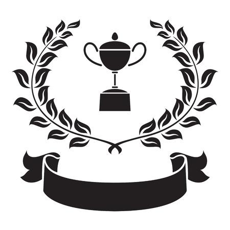 olive leaf: graphic trophy, olive leaf and ribbon