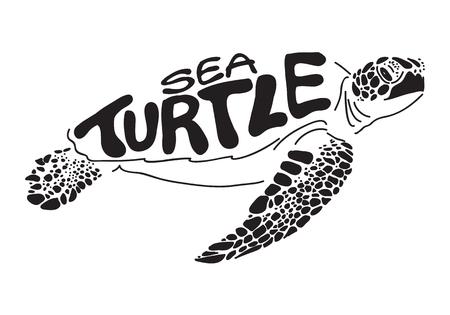 Grafische zeeschildpad Vector Illustratie