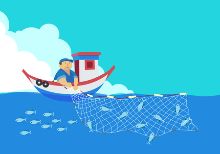 cartoon fisherman, vector
