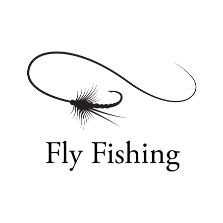 icon fly fishing hook, vector