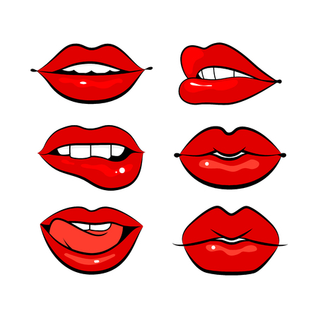 Set of graphic lips or mouth, vector illustration.