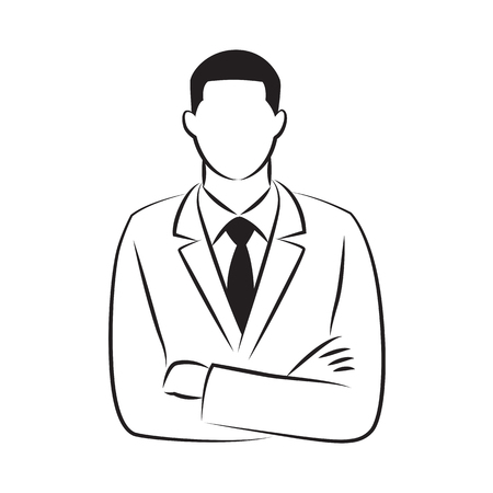 drawing businessman standing with arm crossed, vector 向量圖像