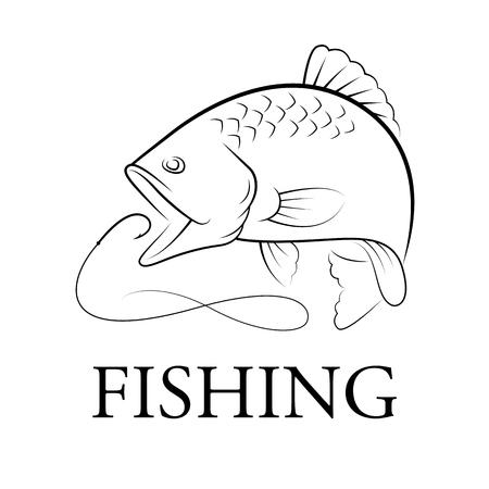 graphic fishing, vector Illusztráció