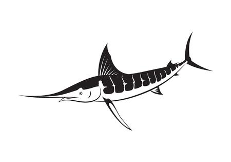 pez vela: Pescado de marlin gráfico, vector