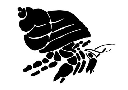 Graphic hermit crab, vector Illustration