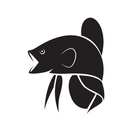 graphic silhouette betta fish, vector Illustration