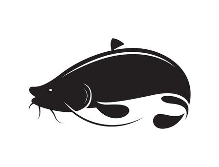 catfish: icon black catfish, vector