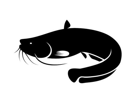 Pictogram zwarte meerval, vector Stock Illustratie