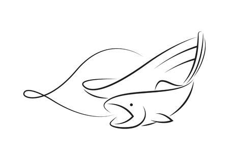 graphic fishing boat, vector