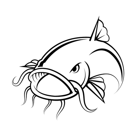 graphic catfish on white background, vector  イラスト・ベクター素材