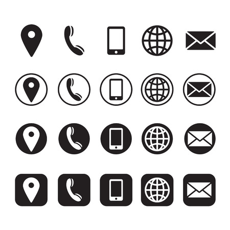 contact information icons, vector