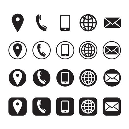 ikony informacji kontaktowych, wektor