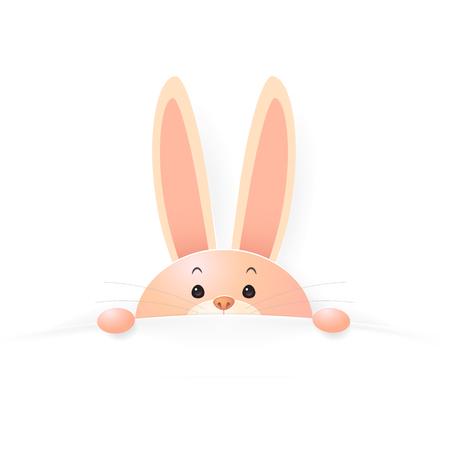 Rabbit in blanket in cartoon illustration.